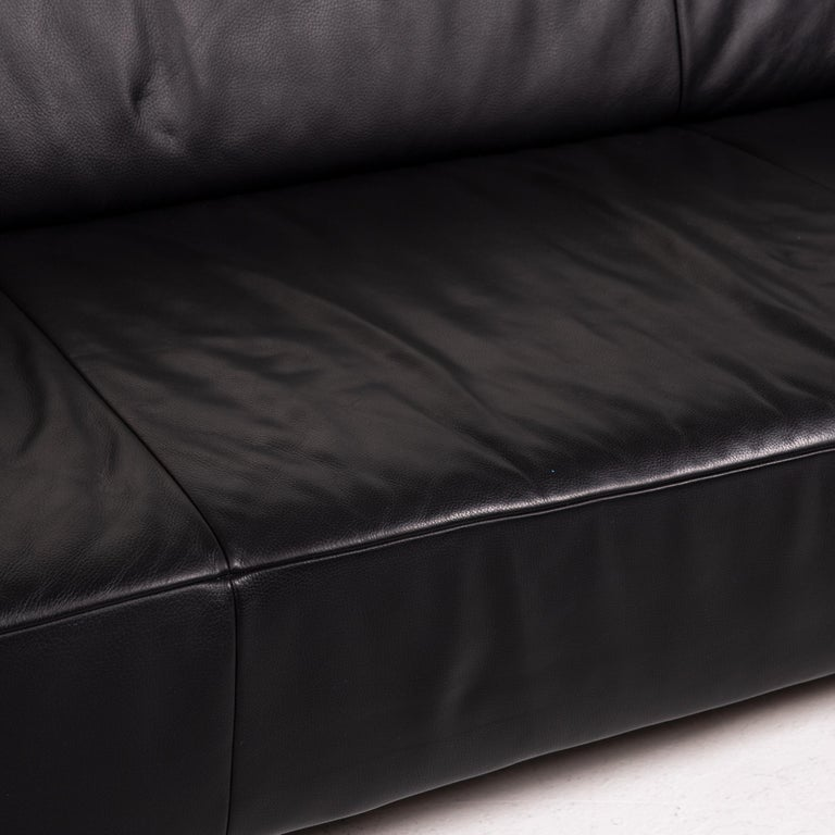 Modern Koinor Genesis Leather Sofa Black Four-Seat Couch