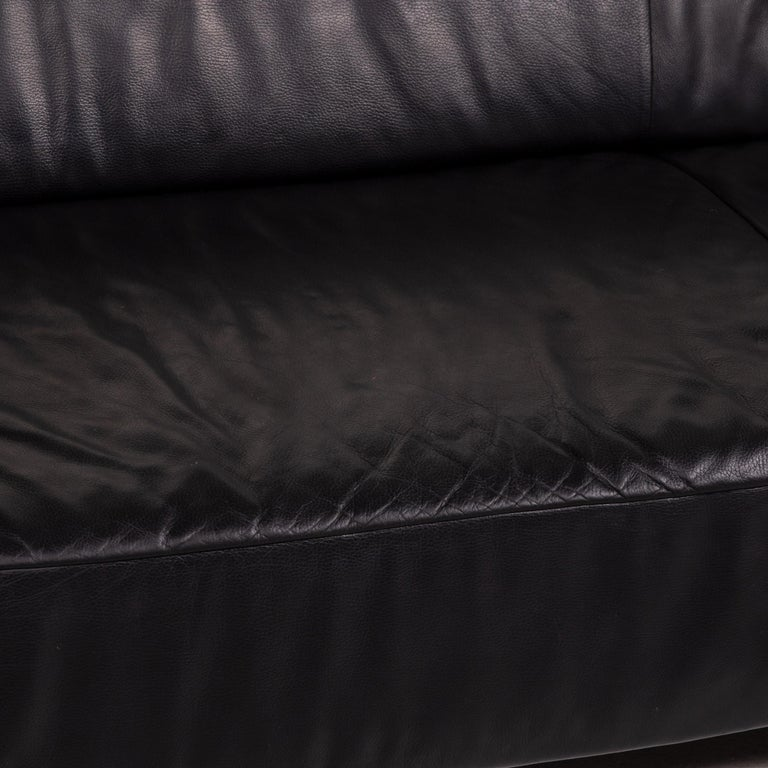 Modern Koinor Genesis Leather Sofa Black Four-Seat Couch For Sale