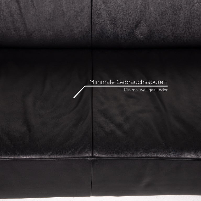 German Koinor Genesis Leather Sofa Black Four-Seat Couch