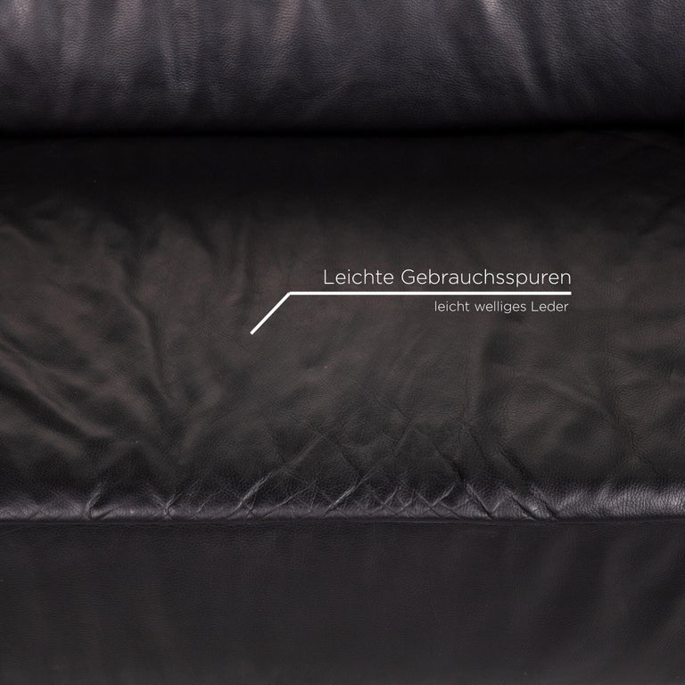 German Koinor Genesis Leather Sofa Black Four-Seat Couch For Sale