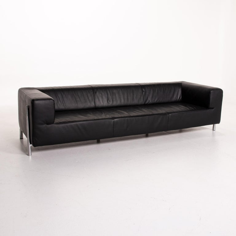 Contemporary Koinor Genesis Leather Sofa Black Four-Seat Couch