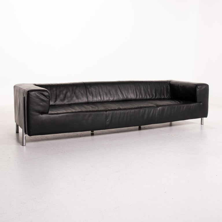 Contemporary Koinor Genesis Leather Sofa Black Four-Seat Couch For Sale