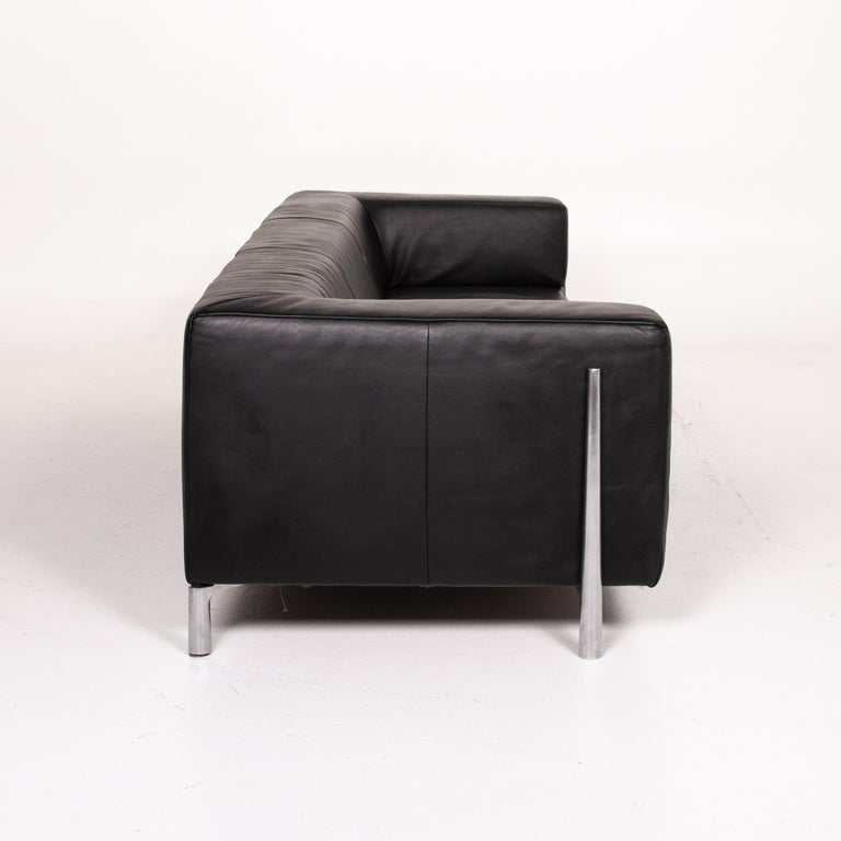 Koinor Genesis Leather Sofa Black Four-Seat Couch 2