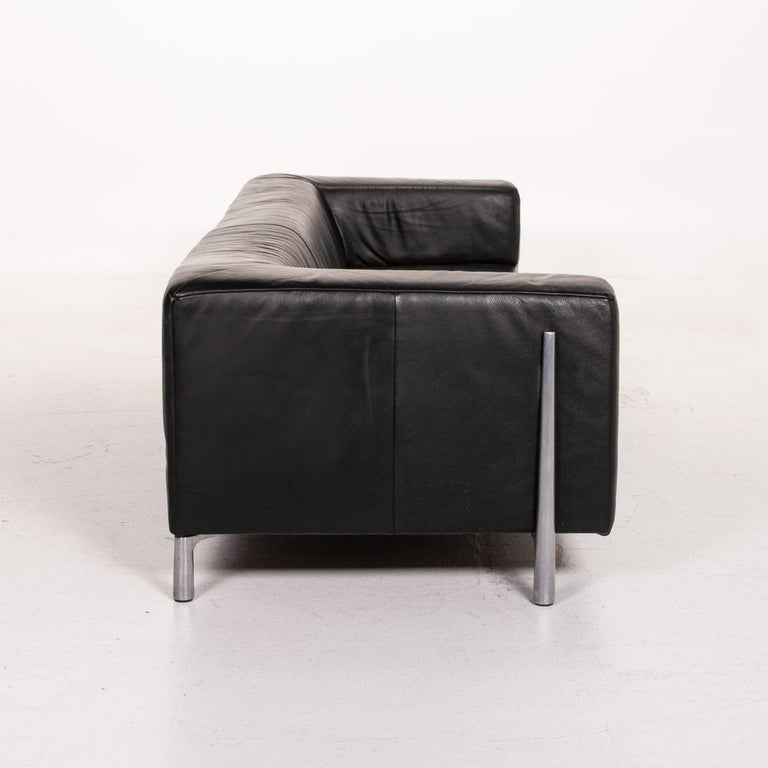 Koinor Genesis Leather Sofa Black Four-Seat Couch For Sale 2