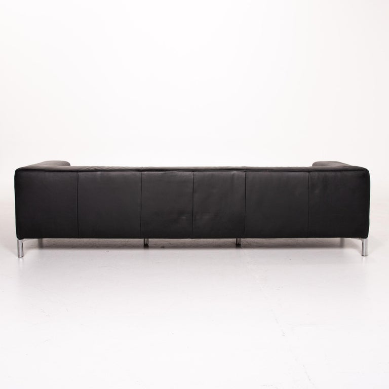 Koinor Genesis Leather Sofa Black Four-Seat Couch 3