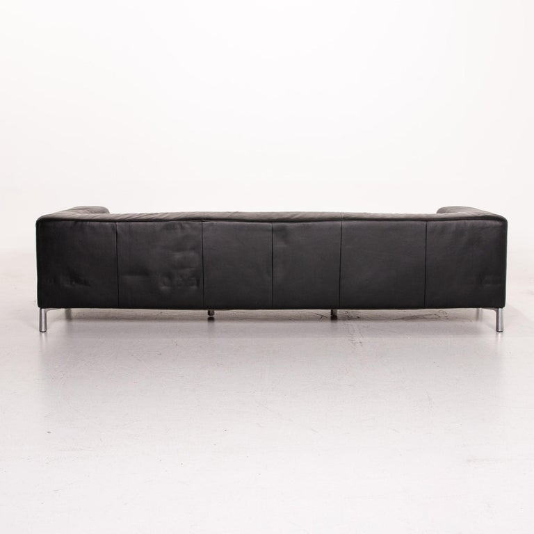 Koinor Genesis Leather Sofa Black Four-Seat Couch For Sale 3