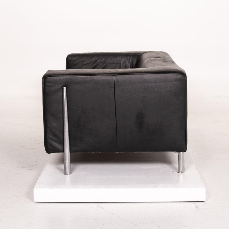 Koinor Genesis Leather Sofa Black Two-Seat Couch For Sale 4