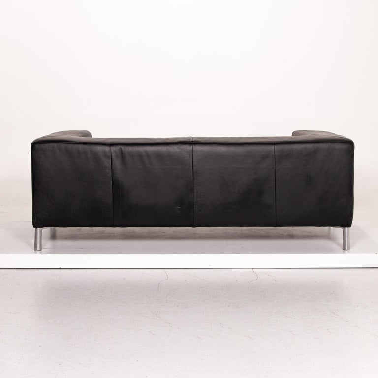 Koinor Genesis Leather Sofa Black Two-Seat Couch For Sale 5