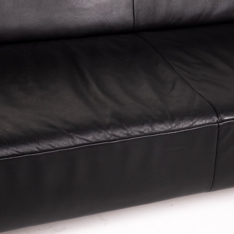 Modern Koinor Genesis Leather Sofa Black Two-Seat Couch For Sale