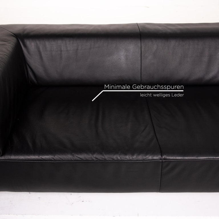 German Koinor Genesis Leather Sofa Black Two-Seat Couch For Sale