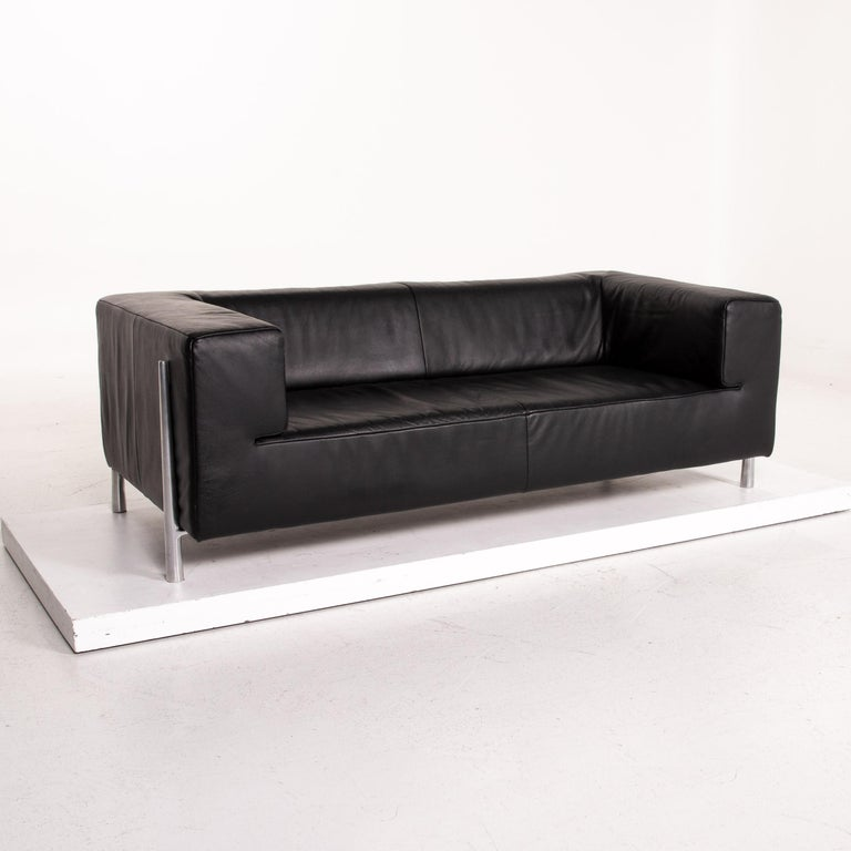 Koinor Genesis Leather Sofa Black Two-Seat Couch For Sale 1
