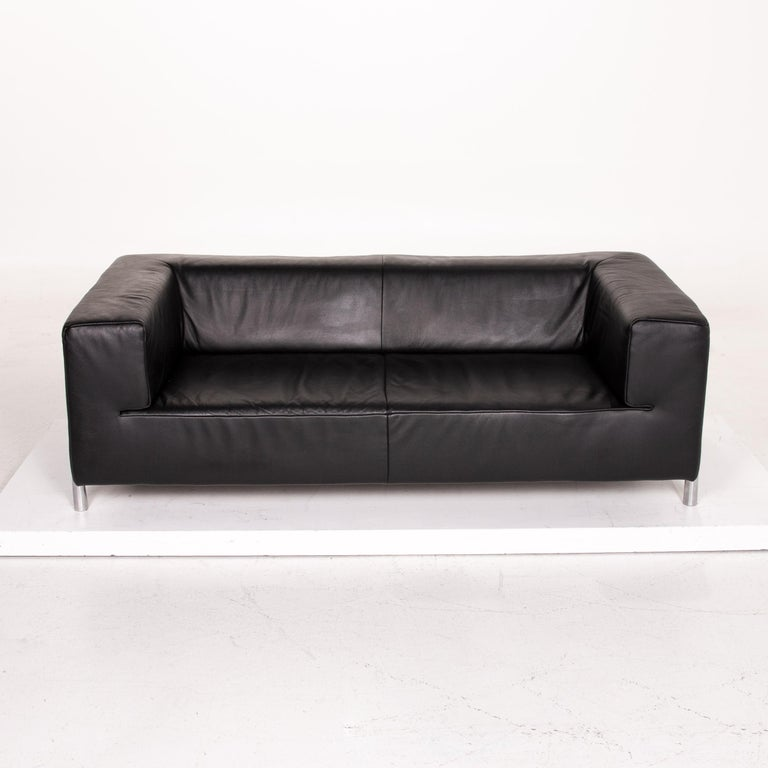 Koinor Genesis Leather Sofa Black Two-Seat Couch For Sale 2