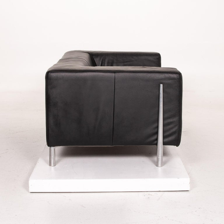 Koinor Genesis Leather Sofa Black Two-Seat Couch For Sale 3