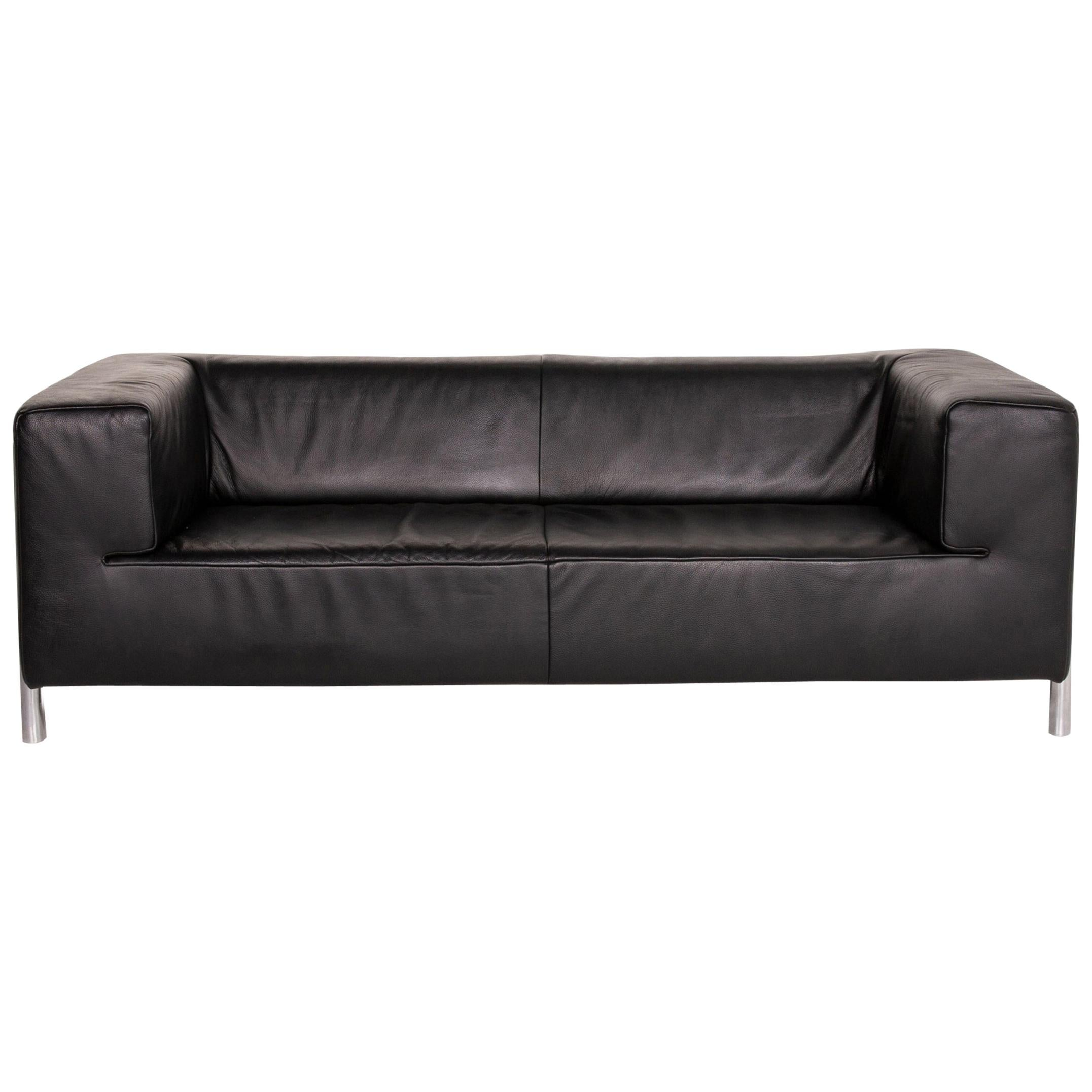Koinor Genesis Leather Sofa Black Two-Seat Couch