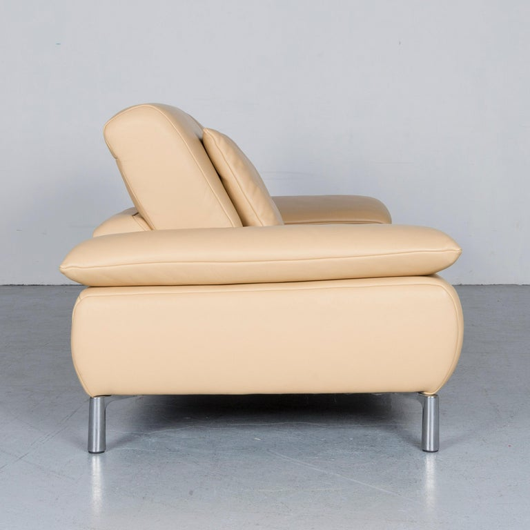Koinor Goya Designer Leather Sofa Creme Beige Three-Seat Couch 5
