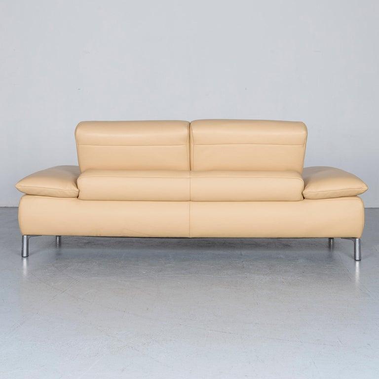 Koinor Goya Designer Leather Sofa Creme Beige Three-Seat Couch 6