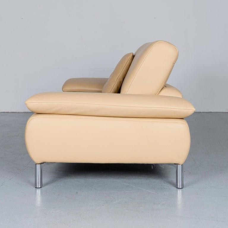 Koinor Goya Designer Leather Sofa Creme Beige Three-Seat Couch 7