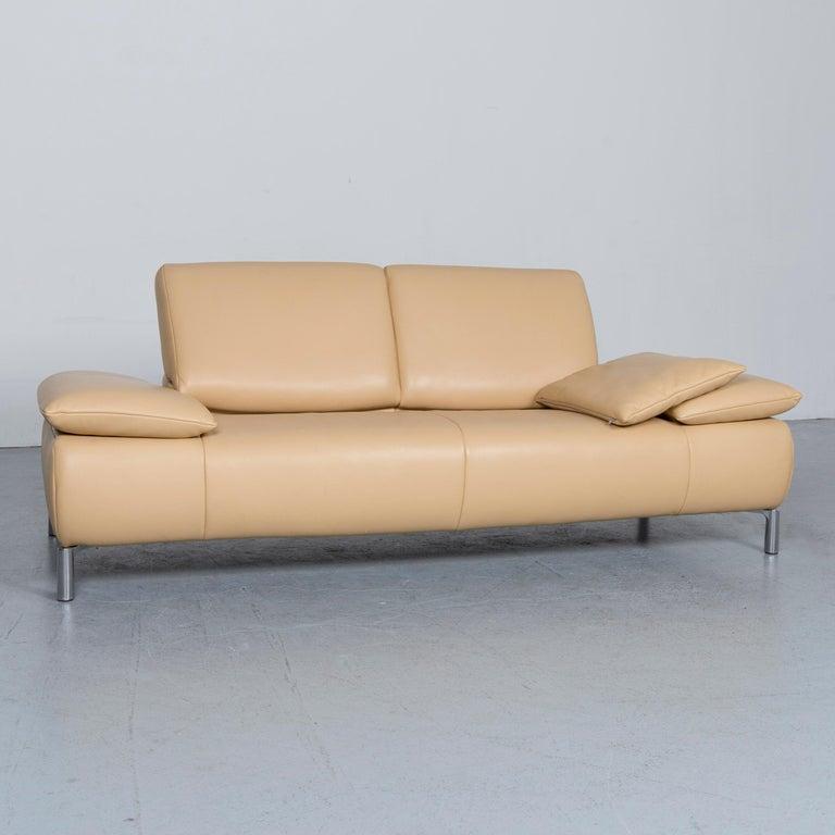 German Koinor Goya Designer Leather Sofa Creme Beige Three-Seat Couch