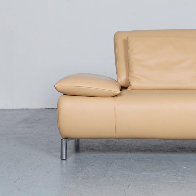 Contemporary Koinor Goya Designer Leather Sofa Creme Beige Three-Seat Couch