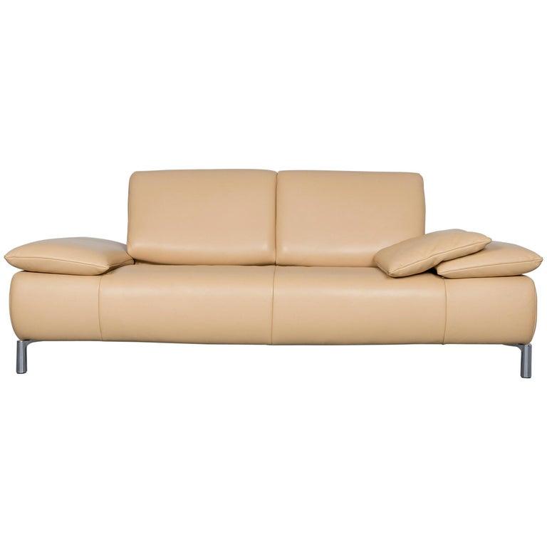 Koinor Goya Designer Leather Sofa Creme Beige Three-Seat Couch