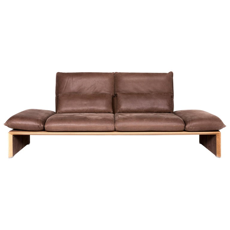 Koinor Houston Designer Leather Sofa Brown Two-Seat Couch at ...