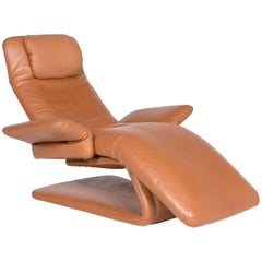 Koinor Imperio Designer Leather Armchair Cognac Genuine Leather Chair Function