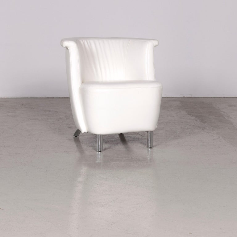 Koinor Infinity V designer leather armchair set white.