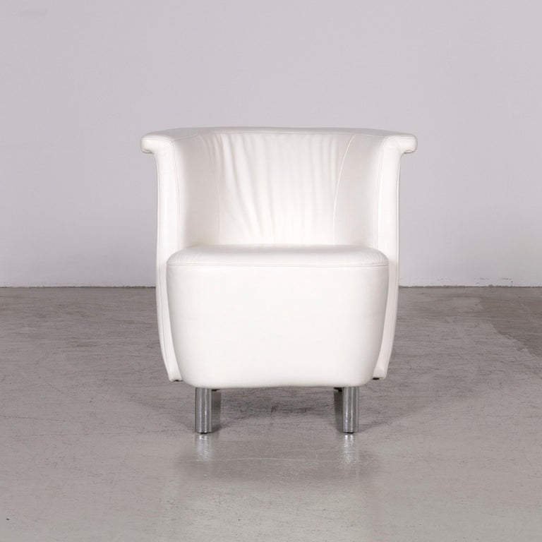 Koinor Infinity V Designer Leather Armchair Set White In Good Condition In Cologne, DE