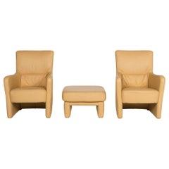Koinor Leather Armchair Set Yellow 2 Armchair 1 Stool