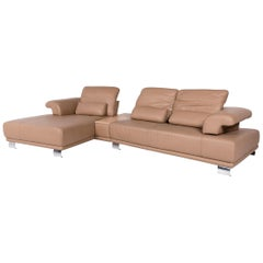 Koinor Leather Corner Sofa Beige Sofa Function Couch