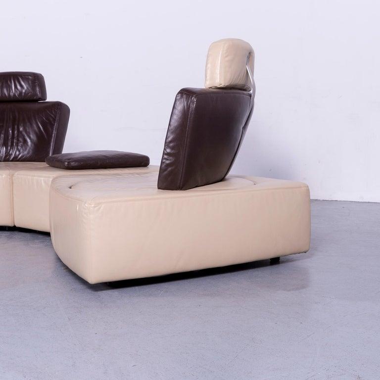 Koinor Leather Corner Sofa Off-White / Brown Four-Seat Function 5