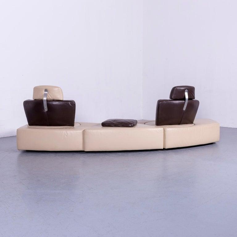 Koinor Leather Corner Sofa Off-White / Brown Four-Seat Function 6