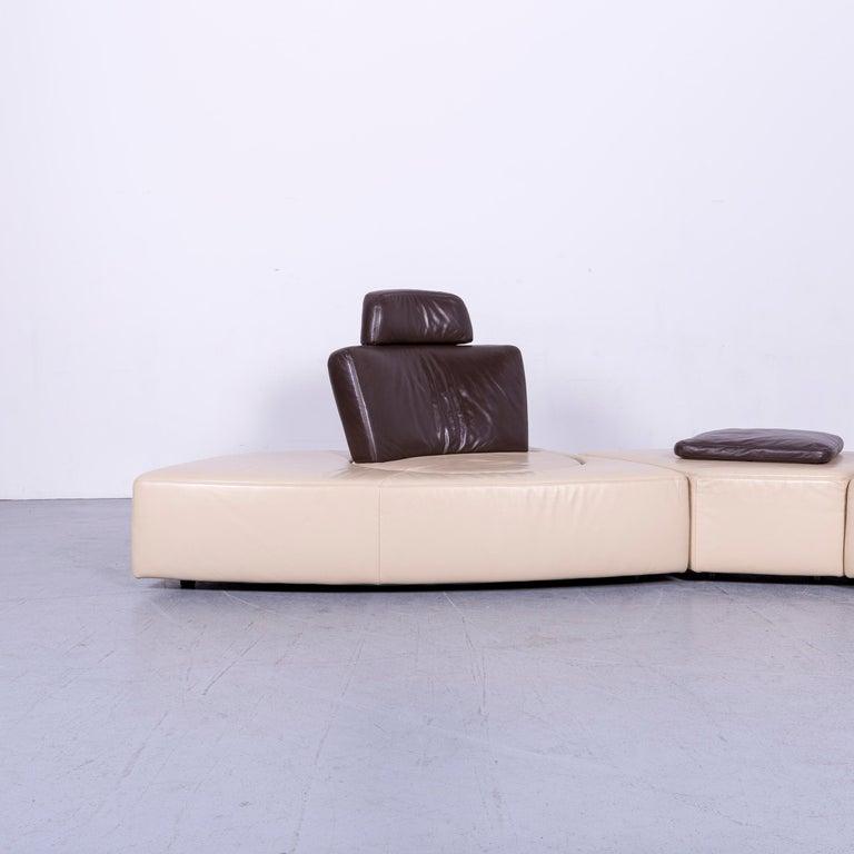 German Koinor Leather Corner Sofa Off-White / Brown Four-Seat Function
