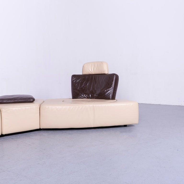 Koinor Leather Corner Sofa Off-White / Brown Four-Seat Function In Good Condition In Cologne, DE