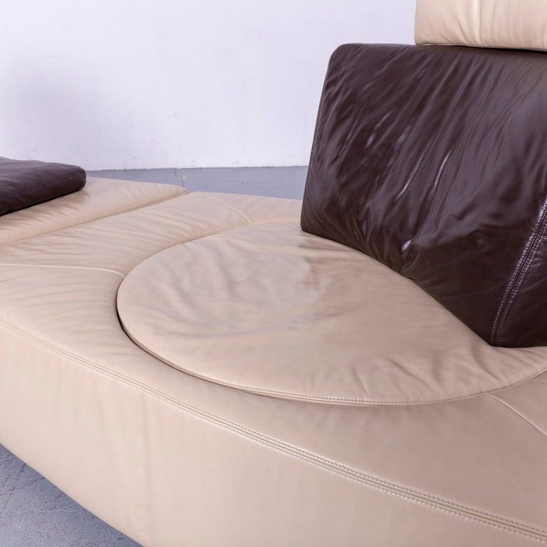 Koinor Leather Corner Sofa Off-White / Brown Four-Seat Function 1