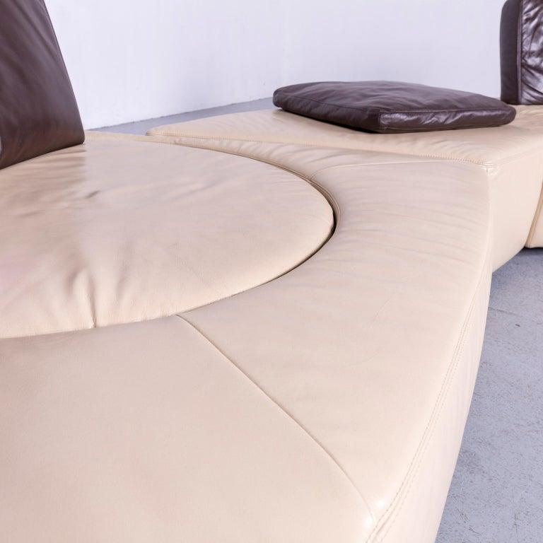 Koinor Leather Corner Sofa Off-White / Brown Four-Seat Function 3