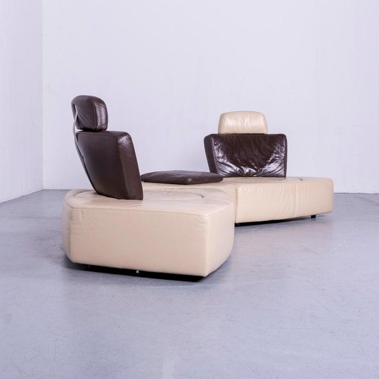 Koinor Leather Corner Sofa Off-White / Brown Four-Seat Function 4