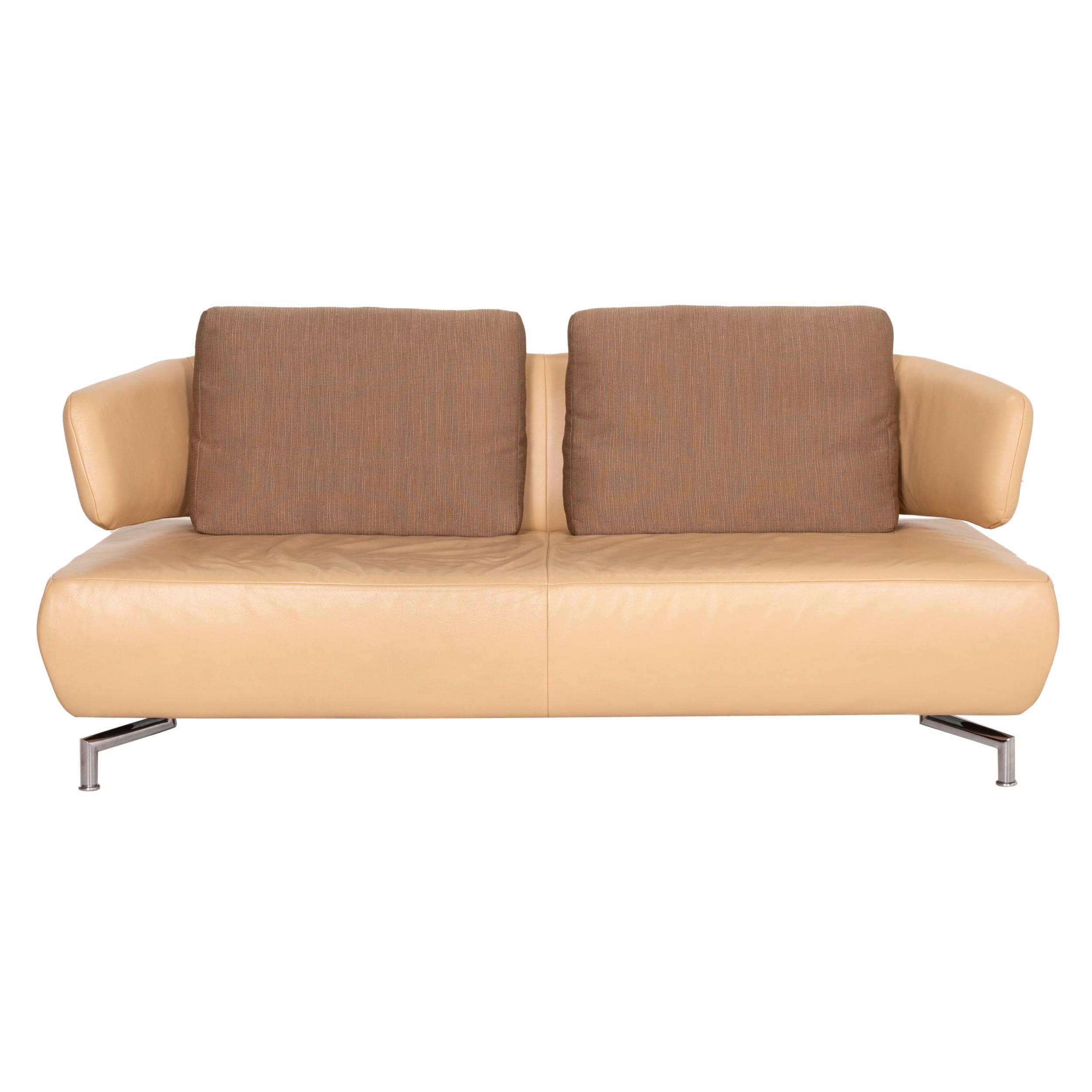 Koinor Leather Sofa Beige Two-Seater Fabric