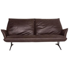 Koinor Leather Sofa Brown Dark Brown Three-Seat Function Couch