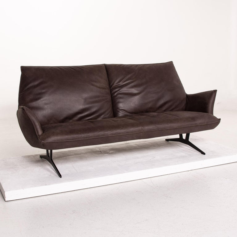Koinor Leather Sofa Brown Dark Brown Three-Seat Function Couch For Sale 4
