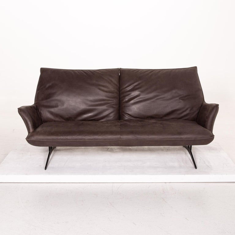 Koinor Leather Sofa Brown Dark Brown Three-Seat Function Couch For Sale 5