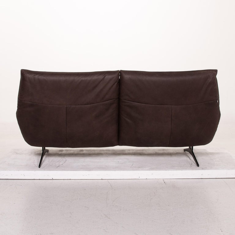 Koinor Leather Sofa Brown Dark Brown Three-Seat Function Couch For Sale 7