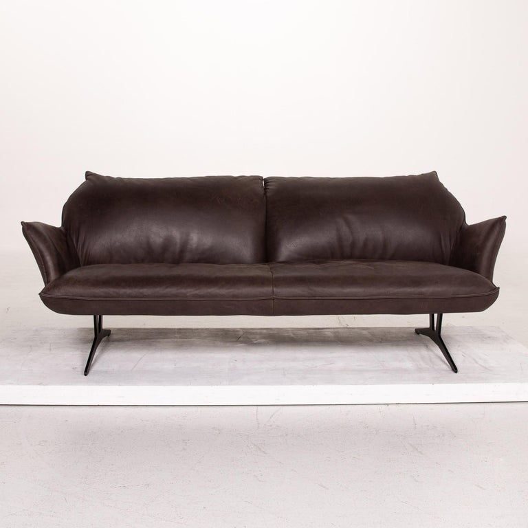 Modern Koinor Leather Sofa Brown Dark Brown Three-Seat Function Couch For Sale