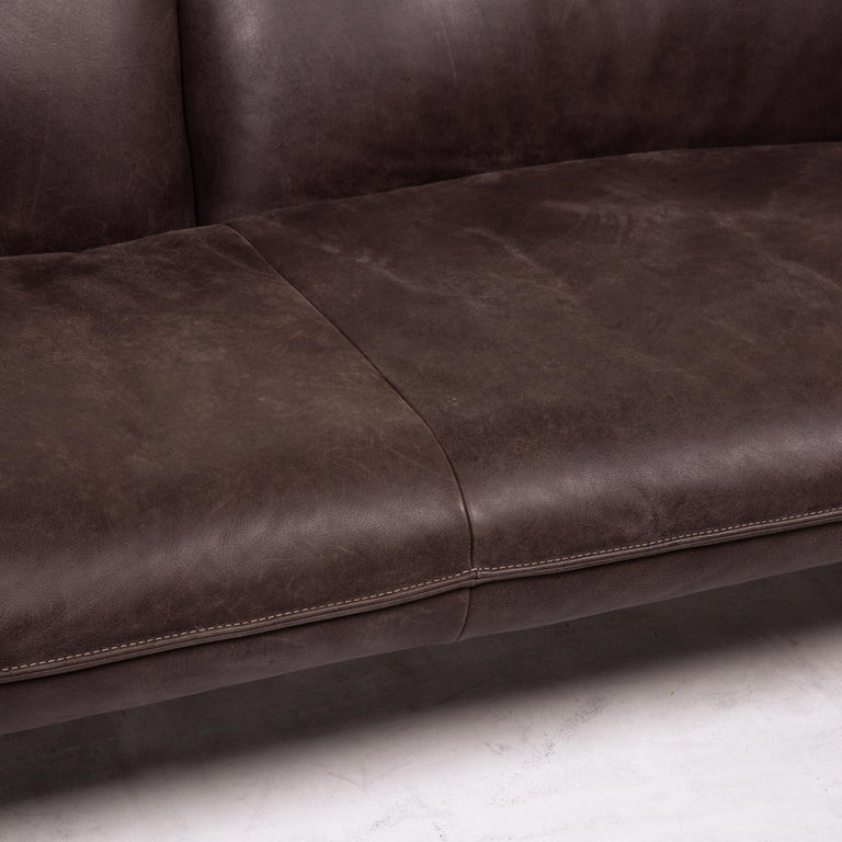 German Koinor Leather Sofa Brown Dark Brown Three-Seat Function Couch For Sale