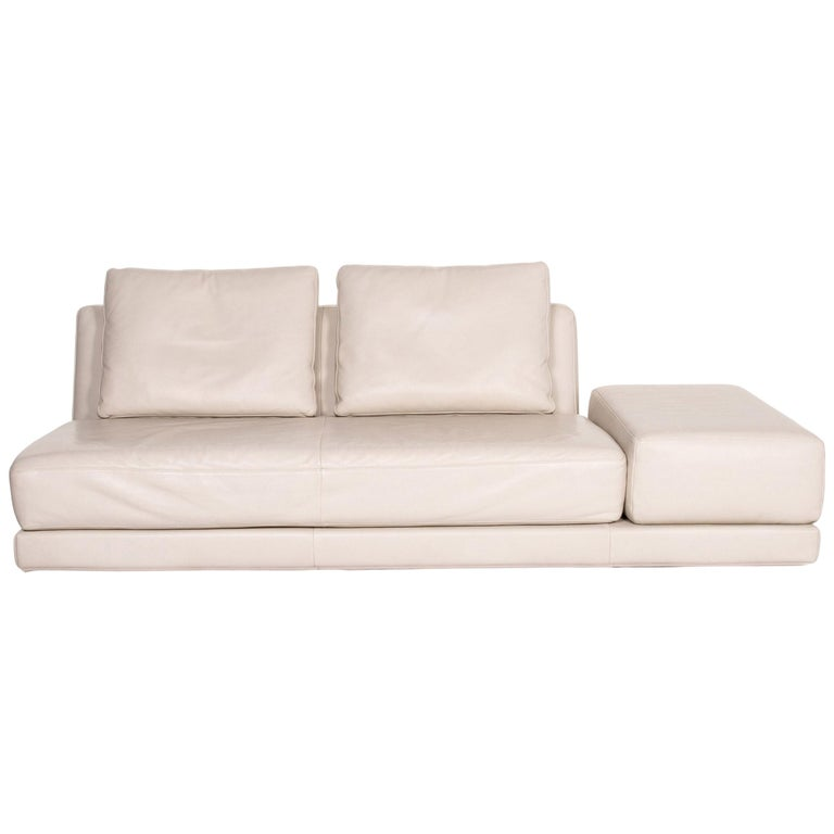 Koinor Leather Sofa Cream Three-Seat Function Couch