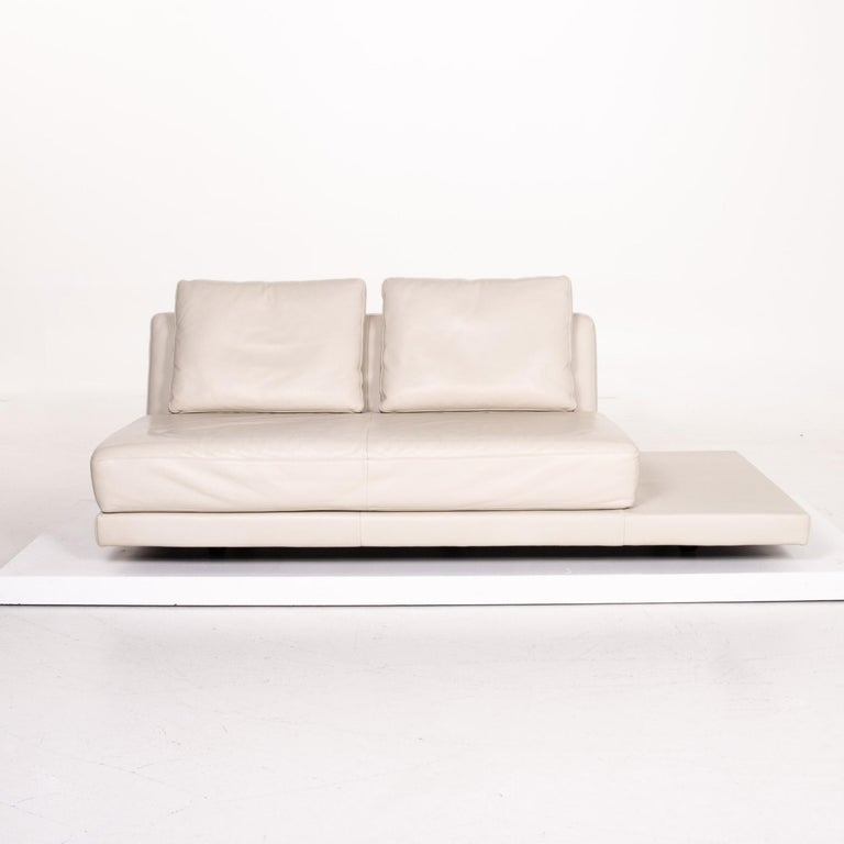 Modern Koinor Leather Sofa Cream Three-Seat Function Couch