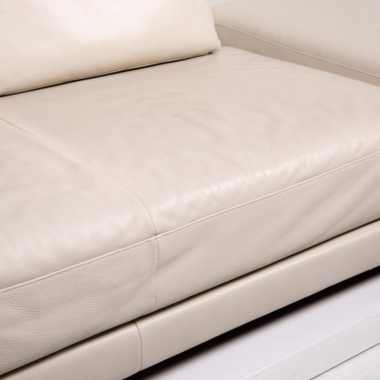 German Koinor Leather Sofa Cream Three-Seat Function Couch