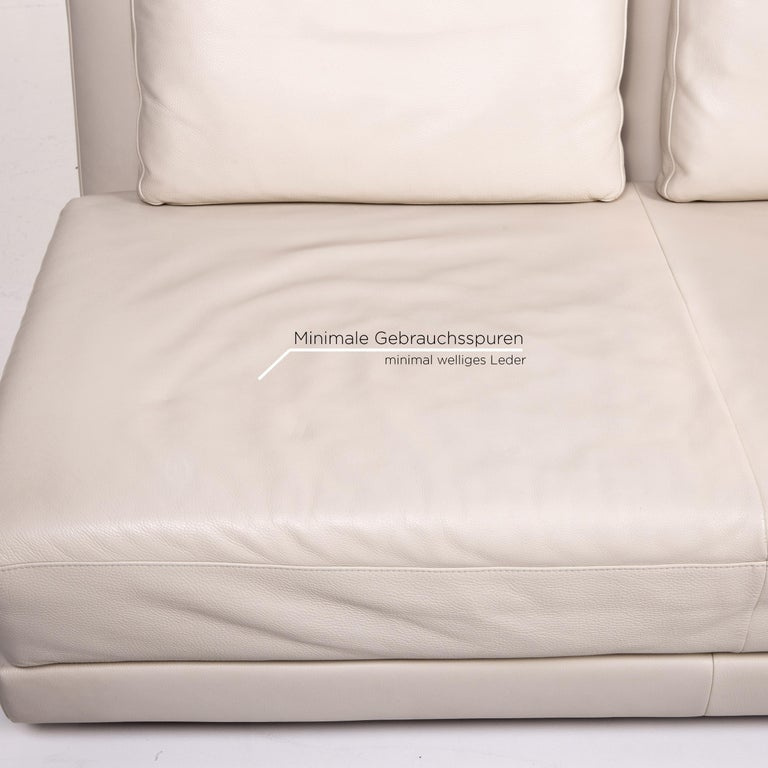 Koinor Leather Sofa Cream Three-Seat Function Couch In Good Condition In Cologne, DE