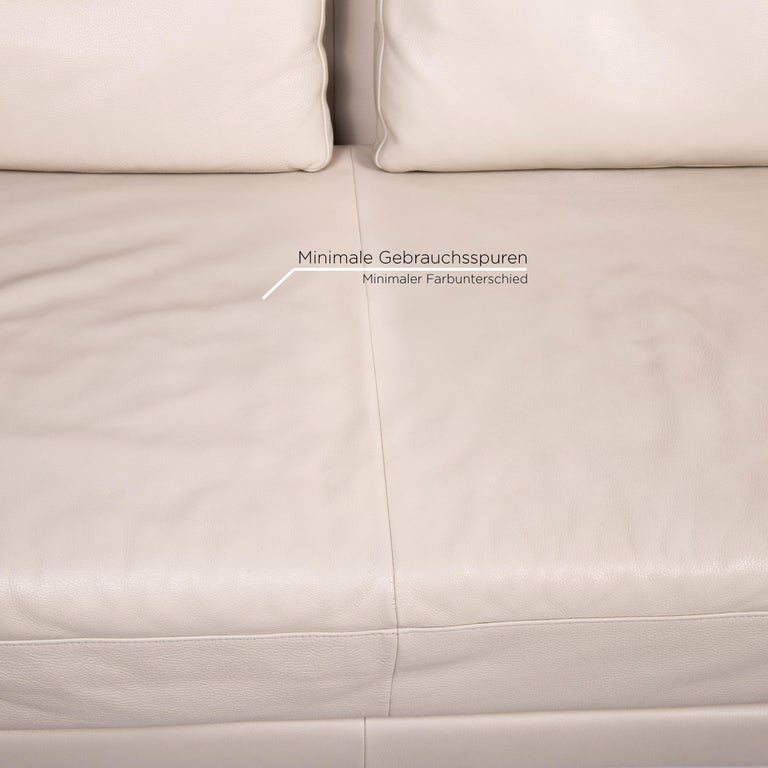 Contemporary Koinor Leather Sofa Cream Three-Seat Function Couch