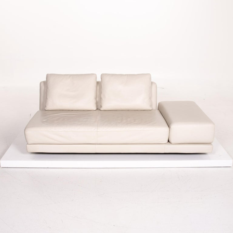 Koinor Leather Sofa Cream Three-Seat Function Couch 3